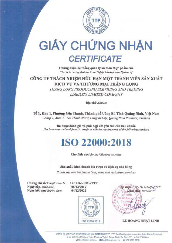 Giấy chứng nhận ISO 22000:2018