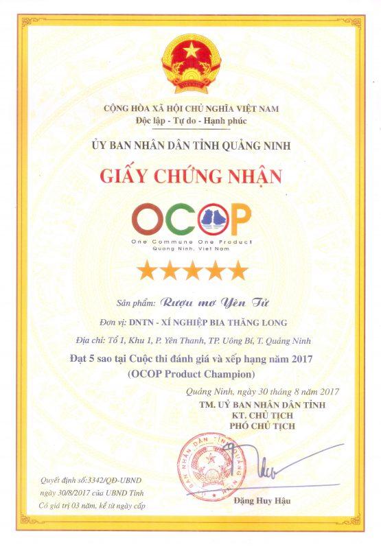 Giấy chứng nhận 5 sao OCOP rượu mơ Yên Tử