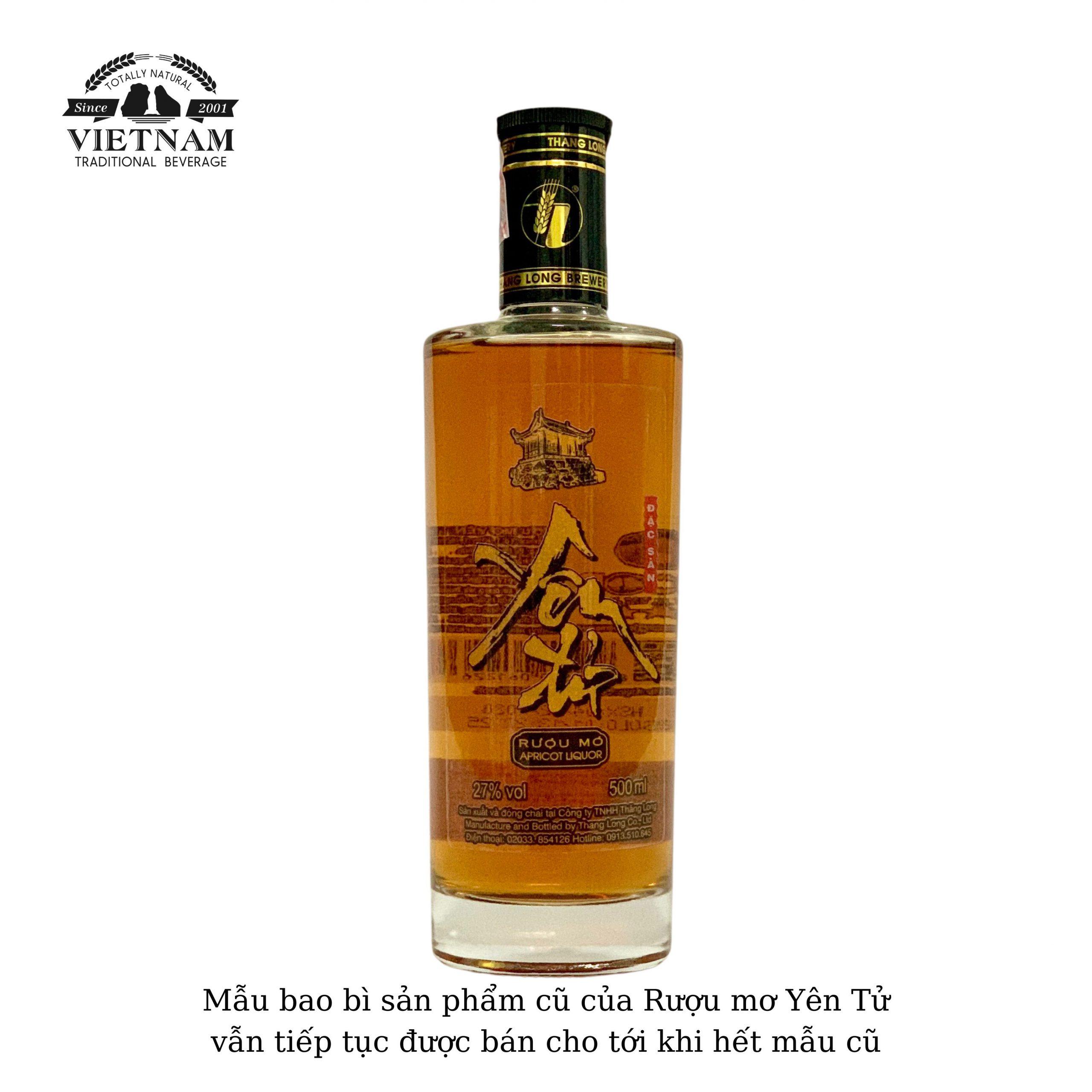 Mẫu bao bì cũ của sản phẩm Rượu mơ Yên Tử