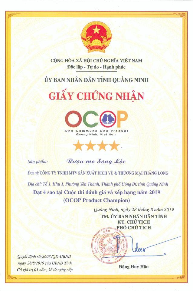 Giấy chứng nhận 4 sao OCOP rượu mơ Song Lộc