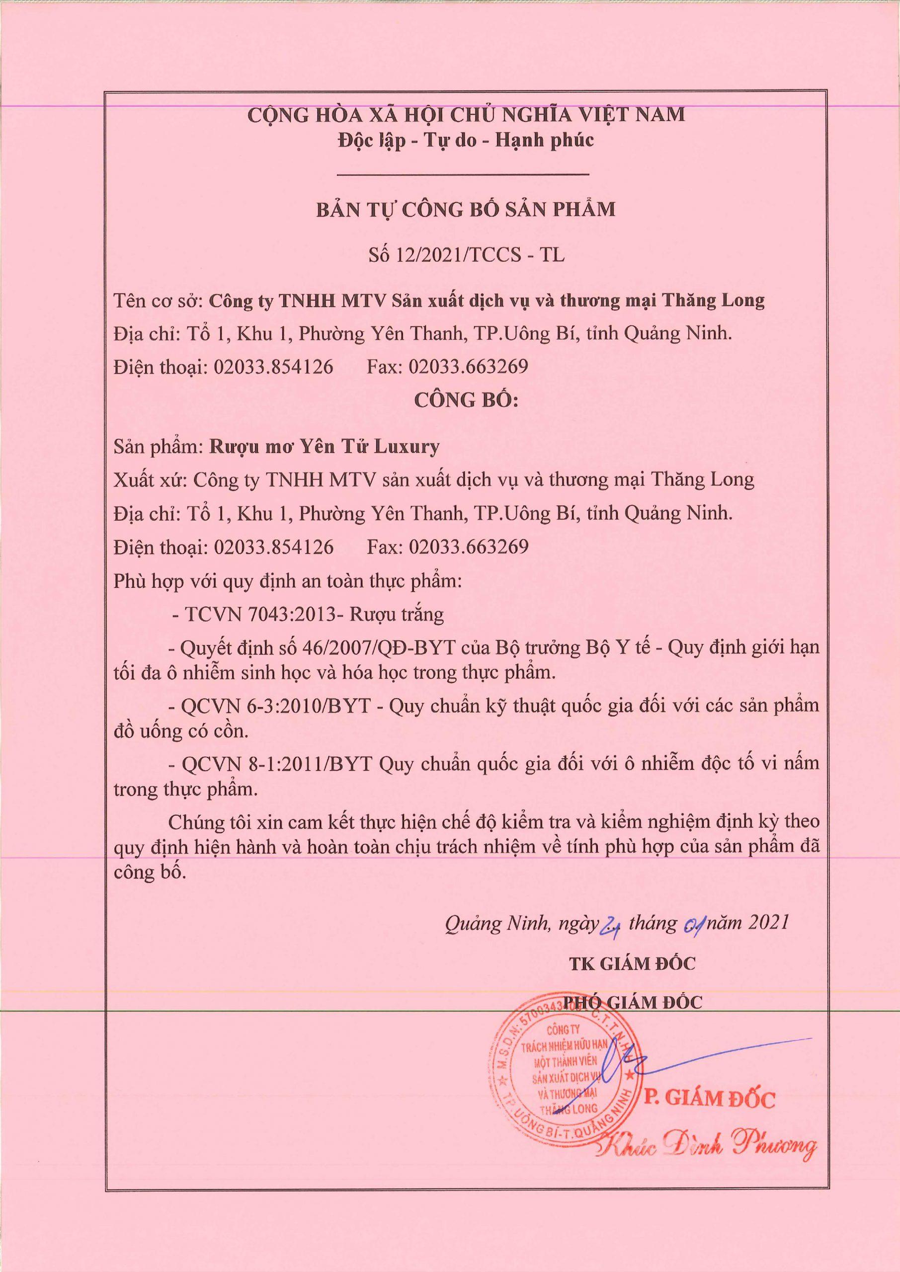 Bản công bố chất lượng Rượu mơ Yên Tử Luxury