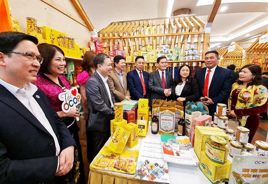 Sản phẩm OCOP Quảng Ninh được trưng bày tại Hội nghị tổng kết chương trình OCOP quốc gia giai đoạn 2018-2020 tại TP Hà Nội, ngày 23/3/2021.